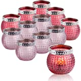 """Set of 12 Small Glass Votives, Tealight Candle Holders 2.3""""/5.9cm High, Mixed Red Color, Wedding Votives ,Vintage Boho Glass"""