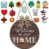 Jetec Seasonal Welcome Door Sign Interchangeable Welcome to Our Home Hanging Sign Round Wood Front Door Sign with Burlap Bow