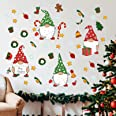 Stology Christmas Gnomes Wall Decal Stickers, Merry Xmas Scandinavian Tomte Elf Snowflake Candy Cane Decor, Winter Holiday Ho
