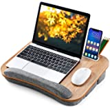 Lap Desk Height Adjustable - Fits up to 15.6 inch Laptop, Ohuhu Portable Wood Lap Laptop Desk with Soft Pillow Cushion, Anti-