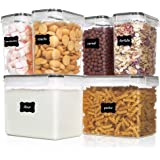 Vtopmart Airtight Food Storage Containers 6 Pieces - Plastic BPA Free Kitchen Pantry Storage Containers for Sugar,Flour and B