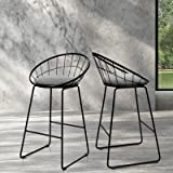 Artiss 2 x Bar Stools, 65cm Height Fabric Upholstery Cushion Seat Kitchen Counter Stools, Industrial Metal Bar Chairs for Hom