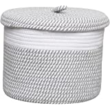 House+ S Size Cotton Rope Basket Column with Cover White,Grey& Mix