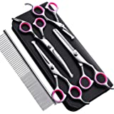 Gimars 4CR Stainless Steel Safety Round Tip 6 in 1 Dog Grooming Scissors, Heavy Duty Titanium Coated Pet Grooming Scissor for