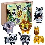 Animals Craft Kit - Educational Toys for Kids, Felt Craft Kit Including 6 Wild Friends, Elephant Zebra Panda Lion Raccoon Gir