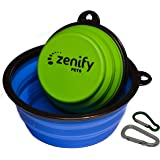Zenify Dog Bowl Food & Water Feeder 2 Pack - Extra Large 1000ml 17.8cm & Small 400ml 12.7cm Collapsible Portable Foldable Tra