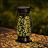 LeiDrail Solar Lantern Outdoor Tabletop Lights for Table Pathway Garden Yard Solar Powered LED Hanging Light Metal Waterproof