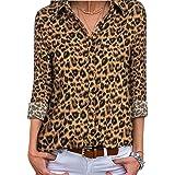PINKMARCO Women Long Sleeve V Neck Chiffon Blouse Casual Business Button Down Shirt collared Tunic Tops