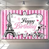 Paris Happy Birthday Backdrop Eiffel Tower Photography Background Paris Party Decorations Sweet Pink Stripes Girl Birthday Pa