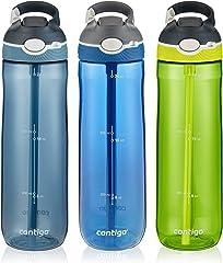 Contigo 2035754 AUTOSPOUT Straw Ashland Water Bottle, 24 oz, Stormy Weather/Vibrant Lime/Monaco, 3-pack
