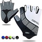 Souke Sportsサイクルグローブ メンズ 3Dパッド付 バイク グローブ 指切り 自転車手袋 吸汗速乾 サイクリンググローブ 通気性 ロードバイク グローブ