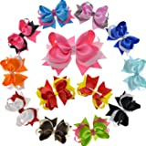 LCLHB Big Layered Fabric Ribbon Bows Alligator Hair Clip For Girls Women 12 Pack