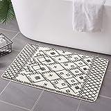 Uphome Moroccan Bathroom Rugs Modern Geometric Velvet Bath Mat 18x25 inch Boho Tribal Non-Slip Bath Rug Soft Microfiber Machi