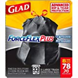Glad ForceFlex Extra Strong Extra Large Tear Resistant Drawstring 33 Gallon, 78 Count Trash Garbage Bags