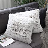 Uhomy Home Decorative Luxury Series Super Soft Style Artificial Fur Throw Pillow Case Cushion Cover for Sofa/Bed Brown Ombre