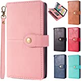 ARROW iPhoneXR 手帳型ケース PUレザー カード収納(7枚サイドポケット3個) スタンド機能 ストラップ付 耐衝撃 カバー (ピンク)