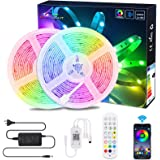 20M / 65.6Ft BluetoothLed Strip Light,ALED LIGHT Music Sync Flexible Color Changing RGB 5050 600 LEDs Rope Light Strips Kit