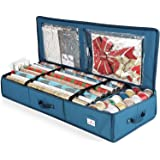 Hearth & Harbor Luxury Christmas Organizer Wrapping Paper Rolls Bed Container, Storage Box for Holiday Accessories, 600D Oxfo