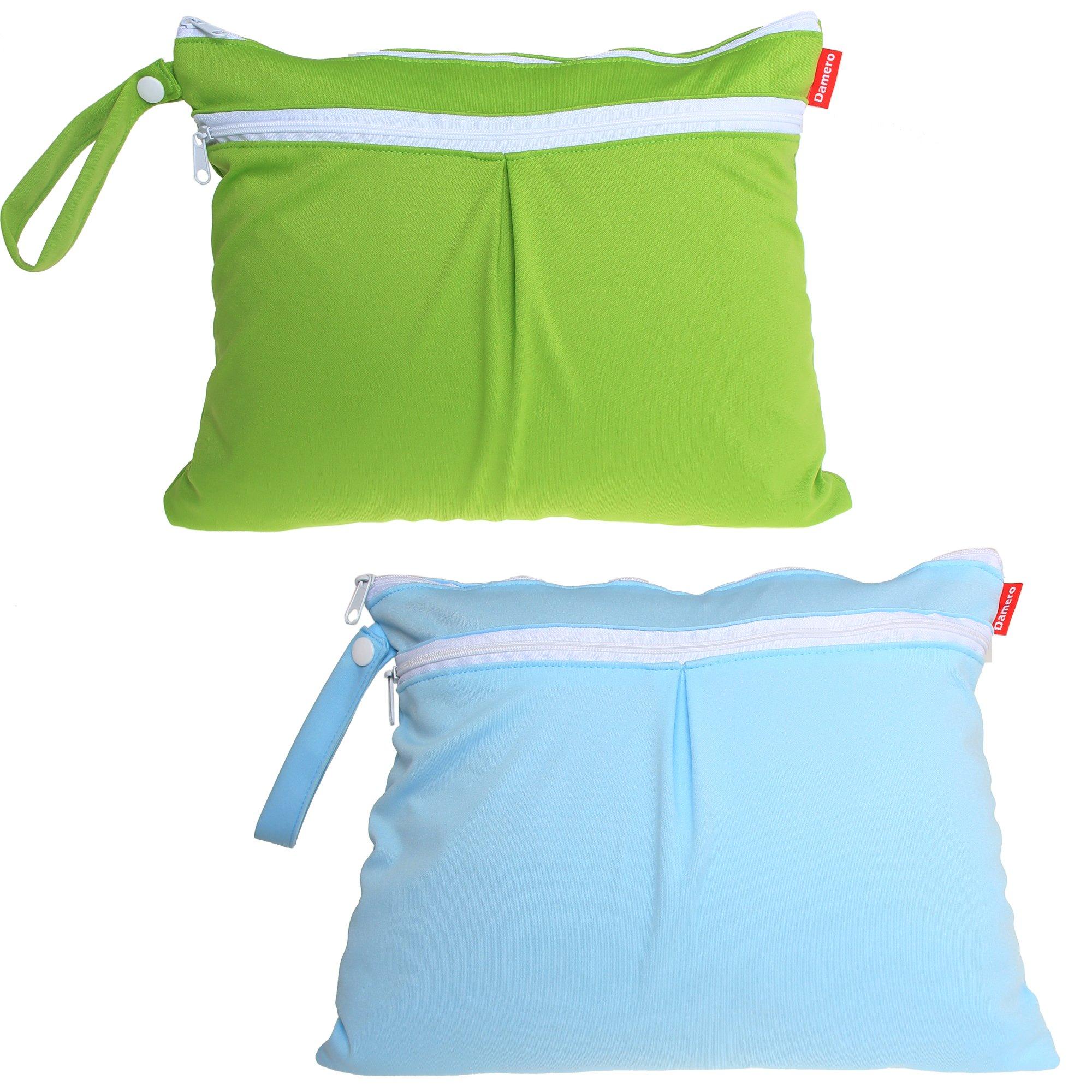 Damero ウェットバック 防水バッグ 2点セット お出かけ 温泉 スポーツ 便利 緑+青