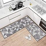 Kitchen Rug Set, 2 Pieces Kitchen Mat Absorbent Non-Slip Soft Doormat Runner Carpet Set for Floor, Kitchen, Laundry, Entryway
