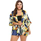 Women's Plus Size Summer Sun Proof Beachwear Bikini Cover up Floral Print Kimono Swimsuit Cardigan Blouse