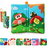 TUMAMA Activity Books Baby Toddler Toys, 3D Crinkle Sound Book Touch and Feel Real Animals, Soft Cloth Book Sets for Educatio