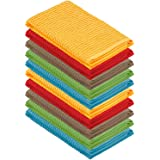 (10 Pack Assorted Colors) - DecorRack 10 Pack Kitchen Dish Towels, 100% Cotton, 30cm x 30cm Dish Cloths, Perfect Cleaning Clo