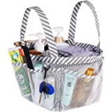 Haundry Mesh Shower Caddy Tote, White College Dorm Bathroom Tote 8 Pockets, Portable Shower Basket Camp Gym