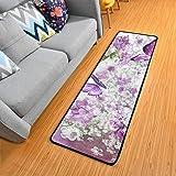 Butterflies Flowers Purple Kitchen Rugs Non-Slip Soft Doormats Bath Carpet Floor Runner Area Rugs for Home Dining Living Room