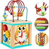 TOWO Wooden Activity Cube Beads Maze -5 Activities Roller Coaster Abacus Cog Wheels Gears Clock Zig Zag Slide-Early Education
