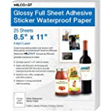 """Milcoast Glossy Full Sheet 8.5\"""" x 11\"""" Adhesive Waterproof Photo Craft Paper - Works with Inkjet/Laser Printers - for Sticke"""