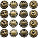 Maydahui 60PCS Bronze Jingle Bells 1.34 Inches Star with Snowflakes Design Small Elliptical Antique Brass Bell for Kids Craft
