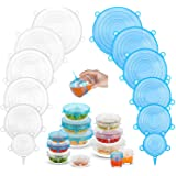 Silicone Stretch Lids (12 Pack, 2 Color), Zero Waste Reusable Silicon Container Lid for Cover Leftover Food and Fruit or Bowl