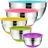 Mixing Bowls with Airtight Lids, Wildone Stainless Steel Nesting Mixing Bowls Set of 5, with Non-Slip Colorful Silicone Botto