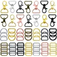 56 Pieces Keychain Hooks with D Rings Set Purse Hardware Lanyard Snap Hooks Multicolor Metal Swivel Clasps with D Rings and S