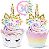 Unicorn Cupcake Toppers and Wrappers Decorations (30 of Each) - Reversible Rainbow Cup Cake Liners with Unicorn Topper | Cute