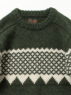 Snow Pattern Wool Crewneck Sweater 11-15-0689-048: Green