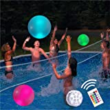 """Pool Toys 16"""" Glow in Dark LED Beach Ball Toy, 16 Color Changing Floating Pool Lights, Outdoor Pool Beach Glow Party Games an"""