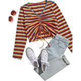 Romwe Women's Plus Rainbow Striped Drawstring Ruched Front Lettuce Trim Casual Crop Tee Blouse Tops
