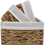 LA JOLIE MUSE Storage Baskets (Pack 3), Rustic Water Hyacinth Woven Baskets for Bathroom, Living Room, Organizing Decorative
