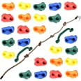 Milliard DIY Rock Climbing Holds Set with 8 Foot Knotted Rope (25 Pc. Kit) Kids Indoor and Outdoor Play Set Use, Includes Mou