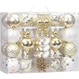 Sea Team 85-Pack Assorted Shatterproof Christmas Ball Ornaments Set Decorative Baubles Pendants with Reusable Hand-held Gift