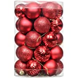 Shatterproof Clear Plastic Christmas Ball Ornaments Decorative Xmas Balls Baubles Set with Stuffed Delicate Decorations (34 C