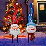 MAGGIFT 2 Pack Christmas Metal Stakes with Tinkle Bell, Metal Snowman and Santa Claus Garden Decor for Outdoor Decorations, S