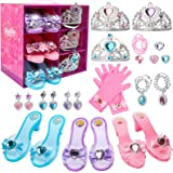 Toycost Princess Dress Up Shoes and Jewelry Boutique Set with 3 Pairs Pretend Play Shoes and Multiple Princess Jewelry Access
