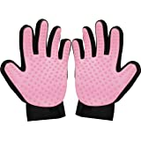 Zenify Cat Hair Remover Grooming Glove Mitt for Deshedding Fur from Cats, Kittens, Rabbits, Guinea Pigs (Light Pink - 2 Pack)