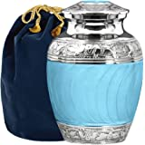 Hugs and Kisses Beautiful Light Blue Child's Cremation Urn for Human Ashes - for a Lost Son or Baby Boy - Find Comfort This S