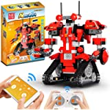 SUPER JOY Building Blocks Robot, APP & Remote Control STEM RC Robot with Rechargeable USB, Science Engineering Building Brick