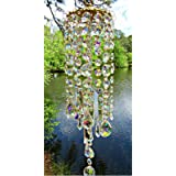 Reswealrc Colorful Crystal Wind Chimes Prisms Hanging Ornament Suncatcher Pendant Perfect Addition to Your Garden Patio Lawn