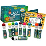 Wee Creators Washable Dot Markers for Kids with 2 Educational Activity Books   10 Color Set